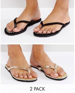 Fido Raffia Flip Flop Two Pack