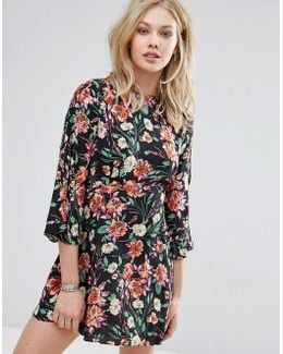 Floral Ruffle Sleeve Smock Dress