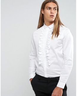 Regular Fit Shirt With Ruffle Front In White