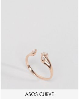 Rose Gold Plated Sterling Silver Open Stone Ring