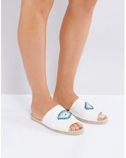 Just Looking Eye Embellished Espadrille Mules