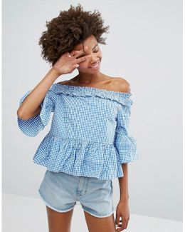 Gingham Ruffle Bardot Top
