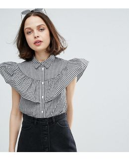 Gingham Tiered Ruffle Shirt