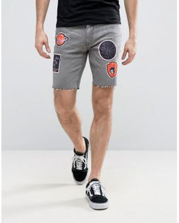 Denim Shorts In Skinny Gray With Raw Hem And Badges
