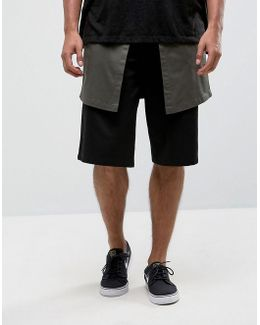 Drop Crotch Shorts With Contrast Panel In Black