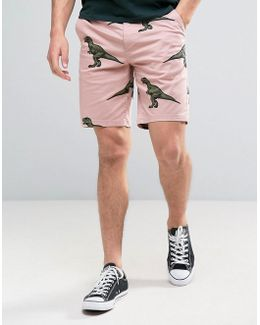 Slim Chino Shorts In Dinosaur Print