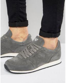 Suede Logo Sneakers In Gray