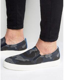 Camo Slip On Sneakers In Navy