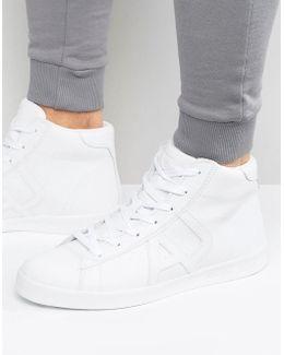Hi Top Logo Sneakers In White