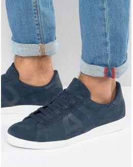 Suede Logo Sneakers In Navy
