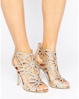 Flutter Gold Cut Out Heeled Sandals