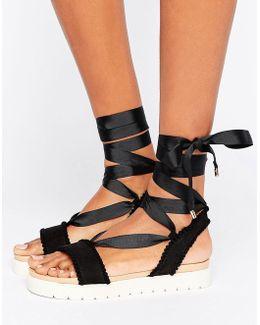 Dakota Pom Pom Tie Up Flat Sandals
