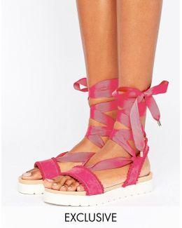Dakota Pink Pom Pom Tie Up Flat Sandals