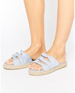 Donna Bow Espadrille Slide Flat Sandals