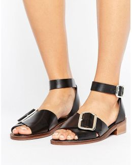 H By Hudson Buckle Leather Flat Sandal