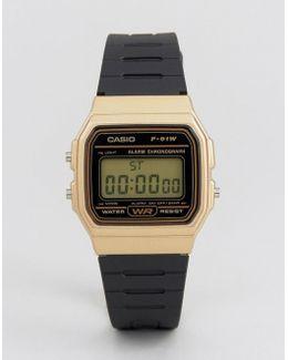 Digital Silicone Strap Watch In Black/gold F91wm-9a