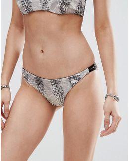Feather Print Reversible Bikini Bottom
