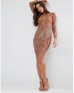 Sequin Stripe Bodycon Midi Dress