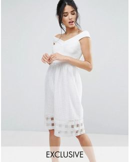 Bardot Midi Dress With Check Mesh Skirt