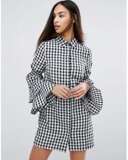 Gingham Tiered Sleeve Shirt Dress