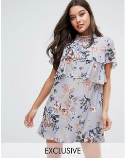 Exclusive Floral Print Frill Dress
