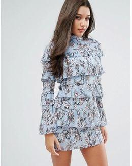 Plisse Ruffle Floral Mini Dress