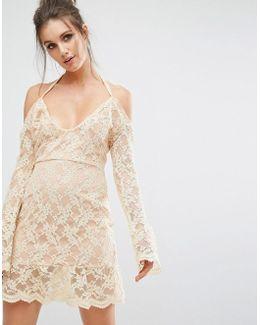 Cold Shoulder Lace Overlay Dress