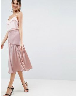 Satin Midi Skirt With Ruffle Detail And Splices