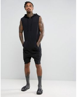 Sleeveless Hooded Short Onesie In Black