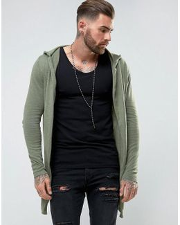 Knitted Hooded Cardigan With Curved Hem In Khaki