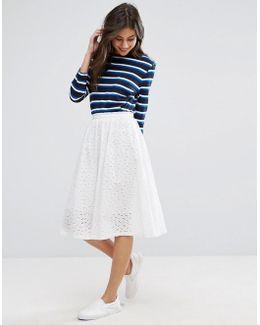 Broderie Anglais Peace Midi A Line Skirt