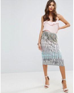 Pencil Skirt With Fringe Embellishment