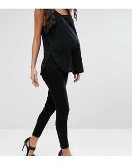 Petite Ridley Skinny Jean In Clean Black With Under The Bump Waistband