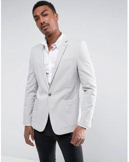 Skinny Blazer In Grey Seersucker Stripe