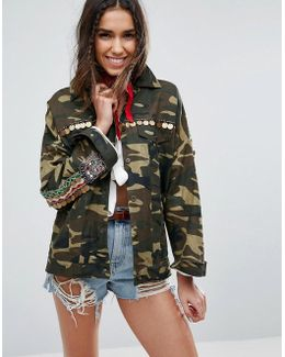Camo Shacket With Embroidery And Embellishment