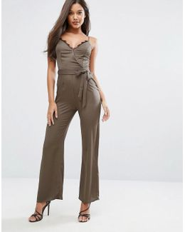 Michelle Keegan Loves Satin Jumpsuit With Lace Insert