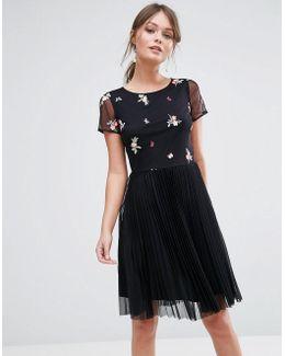 Embroidered Mesh Skater Dress