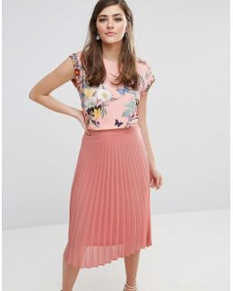 Floral Placement Cap Sleeve T-shirt