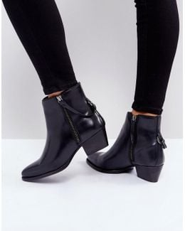 Larry Black Leather Ankle Boots