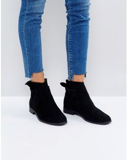 Aretha Black Suede Tie Back Flat Ankle Boots