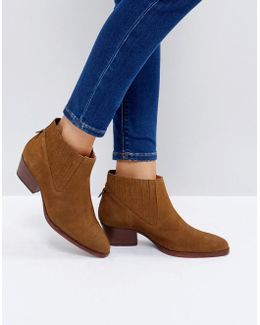 Ernest Tan Suede Flat Ankle Boots