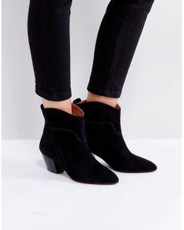 Karyn Black Suede Mid Heeled Ankle Boots
