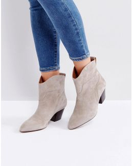 Karyn Taupe Suede Mid Heeled Ankle Boots