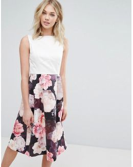 Floral Print 2 In 1 Dress