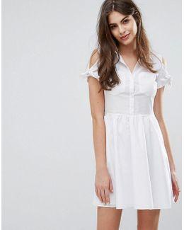 Cotton Tie Shoulder Shirt Dress