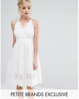 Wrap Front Allover Lace Crochet Full Prom Dress