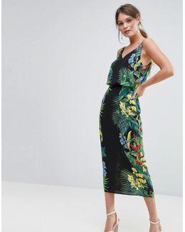 Tropical Placement Midi Cami Dress