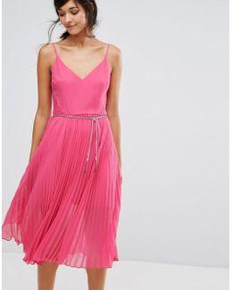 Lace Hem Pleat Midi Cami Dress