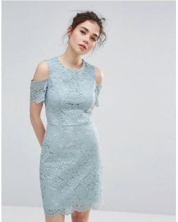 Floral Lace Cold Shoulder Mini Dress
