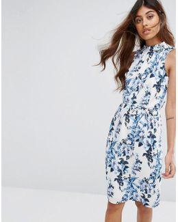 Longer Line Botanical Print High Neck Dress